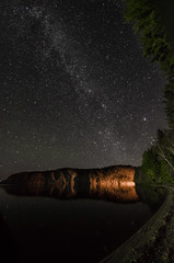 I saw the Constellations (Pas (sQualie)) Tags: 2015 camping bonecho provincialpark park campground stars mazinaw rock shore lake milkyway fall outdoors night nikon d7000 rokinon 8mm fisheye corrected highiso noise gorddowniescanada