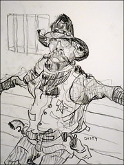 Dusty Bottoms (Kerry Niemann) Tags: cowboy charcoaldrawing apachejunction goldfieldghosttown