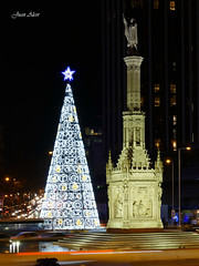 Luces Navideas 2015. Plaza de Coln y Monumento a Coln (Madrid) (Juan Alcor) Tags: madrid arbol navidad luces monumento colon nocturno plazadecolon lucesnavideas