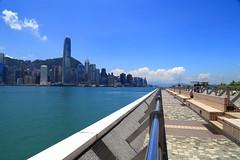 Infinity lines (Davide C.77) Tags: blue sea sky water skyline landscape hongkong harbor asia victoriaharbor