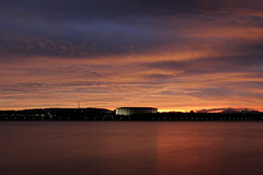 Sunset glow (photophotophotophotophoto) Tags: canberra sunset glow water lake library nationallibrary parliament
