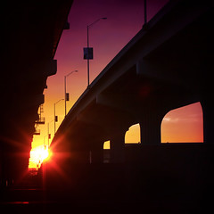 Miami Loving (Thomas Hawk) Tags: unitedstatesofamerica florida usa silhouette bridge sunset macarthurcauseway miamidadecounty unitedstates miami fav10 fav25 fav50 fav100