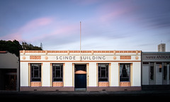 Different Times, Different Light: Scinde Building (ajecaldwell11) Tags: artdeco longexposure hawkesbay newzealand sunset napier scinde sky architecture building clouds dusk light