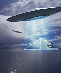 Pyramid House Energized (seeviewer) Tags: fictional fantasy usaf flux liners blue ray flying saucers ufo alien craft reverse engineered calm water clouds photoplay photoshop seascape pyramid house floating ship paint shop pro