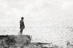 Embraced by the fog... (firstlookimages.ca) Tags: bw blackandwhite blackwhite art artistic artisticmanipulation silhouette fog digitalmanipulation digitalart digitalphotography detail girl grieving monochrome