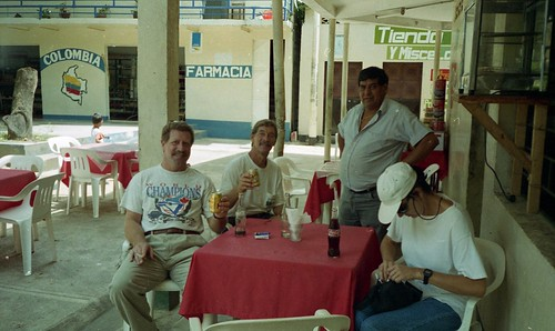 Willie, Bill and Kay pose for a photo at the cafe in Cazuarito, Columbia