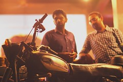 When Old Friends Meet..!! (dilipdevadas) Tags: retro india velvia fujichrome fuji film musicians diner stopover collegebuddies badboys rajdoot vintage motorists nostalgia recreation wonderfulnight two group adults band riders meetup happy friends people