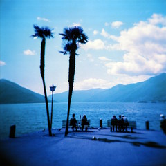 Enchanted (ale2000) Tags: holga lomography lomochrome purple film 6x6 120 square analog analogue filmisnotdead believeinfilm vignette vignetting blue blu azzurro clouds nubi nuvole montagne mountains ascona switzerland suisse svizzera sight view veduta lago lake lagomaggiore cantonticino ticino lungolago palme palms trees water acqua panchine benches retirement