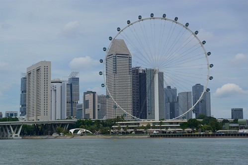 Singapore Flyer ferriswheel seen from the Gardens by the Bay