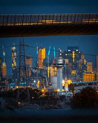 the future is here (lucidddreamin') Tags: melbourne australia longexposure westgate westgatebridge cityview cityscape citylights cityscene industrial urban powerlines night nightsky dusk reflections