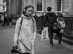 The Weight of the World (Leanne Boulton) Tags: monochrome people portrait urban street candid portraiture streetphotography candidstreetphotography candidportrait streetlife streetportrait young woman female pretty face girl facial expression look emotion feeling mood atmosphere sadness isolation misery unhappy depression flask headphones music tone texture detail depthoffield bokeh naturallight outdoor light shade city scene human life living humanity society culture canon canon5d 5dmarkiii 70mm character ef2470mmf28liiusm black white blackwhite bw mono blackandwhite glasgow scotland uk