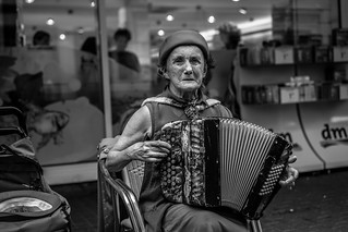 Sonia, an eighty-four years old accordion player