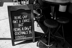This Cafe Gets It (Trent Crawford) Tags: blackandwhite street monocrome human politics political equal rights truth bigotry cafe
