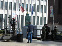 We Are The Media? (PPWIII) Tags: grandrapids march 4 trump pence calder plaza militia camo guns semi auto rifle pistols