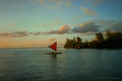 (SLEEC Photos/Suzanne) Tags: ocean sunset seascape lensbaby clouds sailboat island hawaii boat sailing afternoon kauai hawaiian hanalei textured flypaper outriggersailingcanoe