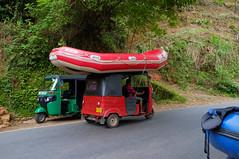 Amphibious tuk-tuk (Inklaar) Tags: blue red green boot boat asia groen blauw streetphotography rafting tuktuk srilanka lk rood kitulgala autorickshaw azi threewheeler raften x100 straatfotografie  toektoek  sabaragamuwaprovince fujifilmx100 inklaar:see=all