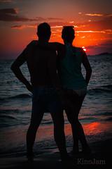 Juntos al atardecer (kinojam) Tags: sunset shadow sea orange sun love sol beach canon contraluz dark atardecer mar kino couple mediterraneo pareja amor sombra playa ibiza puestadesol naranja ocaso anochecer oscuridad calacomte canon60d kinojam