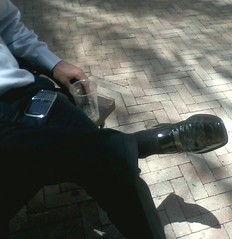 Kenneth Coles 3 (mansoles) Tags: public businessman toes professional friendly bigfeet kennethcole shoeoff dressshoe sockedfooted
