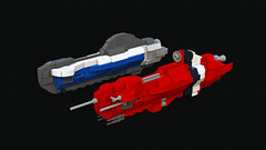 Civilian Vectura LRT & Rufescent Ductus Command Ship (bluemoose) Tags: red scale control lego space class micro nano lrt command ldd imperium rufescent ductus vectura bluerender