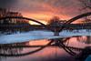 winter tridgey-bridge (Christian Collins) Tags: tridge midland midmichigan michigan sunset puestadelsol canoneos5dmarkiv winter invierno cold chilly frigid frozenriver ice reflections