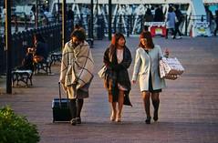 Christmas shopping in Yokohama (PeterThoeny) Tags: woman women walking shopping yokohama japan serene outdoor day goldenhour sunset 1xp raw nex6 sel55210 photomatix hdr qualityhdr qualityhdrphotography 運河パーク fav50