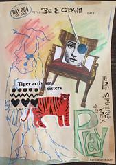 Drawing 4 of 365 Days of Creativity (karinaltarts) Tags: art mixedmedia willsondheim creativity drawing 365 365creativechallenge artistasclown clowning collage stealing play sisters