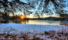 Eivindsvatnet, Norway (Vest der ute) Tags: xt2 norway rogaland haugesund djupadalen sunrise earlymorning sky trees water waterscape snow winter reflections fav25