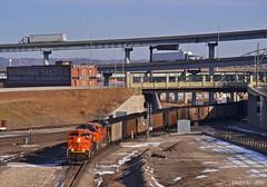 "Southbound Coal Train in Kansas City, MO (""Righteous"" Grant G.) Tags: bnsf railway railroad locomotive train trains south southbound loaded loads coal kansas city missouri west bottoms"
