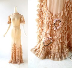 1930s peach chiffon ruffled wedding gown with wreaths (Small Earth Vintage) Tags: smallearthvintage vintageclothing vintagefashion gown dress 1930s 30s peach chiffon weddinggown ruffles wreaths