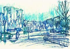 PASEO DE LA VAGUADA- CERCA DE LA ENTRADA COCHES CENTRO COMERCIAL- MADRID . (GARGABLE) Tags: barriodelpilar angelbeltrán apuntes drawings dibujos calles gargable gente coches árboles parquenorte melchorfernandezalmagro