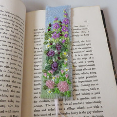 garden flowers bookmark - embroidered and felted (Lynwoodcrafts) Tags: garden embroidery embroidered flowers flower floral rose roses daisy daisies lilac pink feltfelted bookmark embroideredbookmark feltbookmark