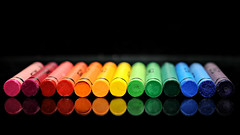 wax rainbow (brescia, italy) (bloodybee) Tags: 365project waxcrayon wax crayon rainbow colors black reflection mirror stilllife