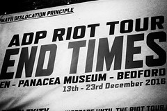 End Times (6079 Jones, P) Tags: jimmy cauty adp aftermath dislocation principle adp1 adp2 adp3 panacea society museum bedford bedfordshire england castle road poster canon eos 1200d canonef1855mm apocalypse newnham sign img5685 monochrome blackandwhite nik silver efex