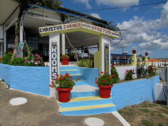 20160506-152418LC (Luc Coekaerts from Tessenderlo) Tags: grc greece kritinia monólithos cc0 creativecommons 20160506152418lc cafe terrasse object flowerpot bloempot stairs multicolored colorful kleurrijk red blue public nobody coeluc vak201605rodos vak rodos rhodes