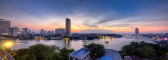 Chao Phraya River, Bangkok (Jhaví) Tags: chaophraya thailand sunset sun orange sky blue sothestasia asia river water panorama bangkok city