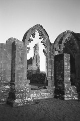 Medieval Window on the world (bigalid) Tags: film 35mm fuji fz5 kodak bw400cn expired dumfries c41 plastic toycamera december 2016 ruin lincluden abbey window
