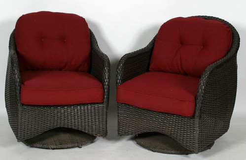 Pair of Wicker Swivel Chairs & Pillows ($231.00)