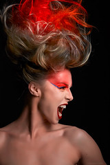 Four Elements (Shane Baker Studios) Tags: fashion model photo photoshoot photography photographer makeup makeupartist hair hairstyle hairstylist hairdye haircolor redhair red redlipstick lipstick woman power act express emotions scream magazine face faceshot facepaint