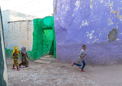 Children in the colorful streets of Jugol old town, Harari Region, Harar, Ethiopia (Eric Lafforgue) Tags: africa africanculture africanethnicity africans architecture blue children colourpicture day developingcountry eastafrica ethio17022 ethiopia ethiopians famousplace harar hararjugol harari harer harergeprovince harergey harrar horizontal hornofafrica islam journey oromo outdoors people photography running street threepeople traditionalculture traveldestinations unescoworldheritagesite wall harariregion et