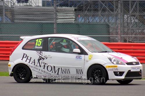 Sikander Hussain in the BRSCC Fiesta Junior Championship at Silverstone, August 2015