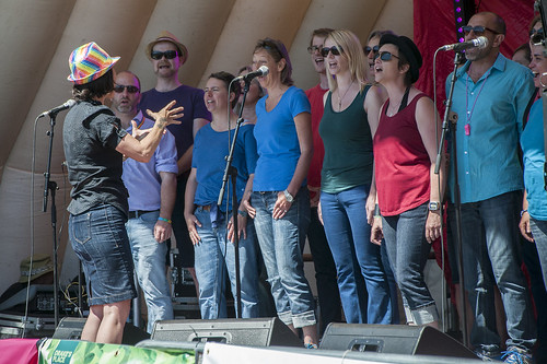 Spectrum Choir on stage at Plymouth Pride 2015