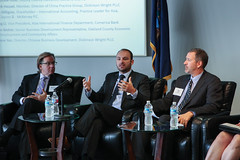 (From left) Oakland County's Matthew Gibb and Alan Weber, and Clayton McKervey's Tim Hilligoss, share perspectives on the Chinese market during the Chamber's inaugural Investor Briefing in August.