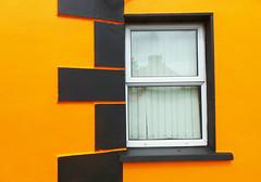Black and orange with window (Sallyrango) Tags: street ireland orange abstract detail window westireland blackandorange urbandetail brighthouses brightbuildings