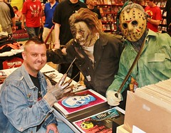 A Trio of Terror! by John R. Pleak 2015 (johnr.pleak) Tags: halloween illustration watercolor dayofthedead saw artist cosplay zombie halloweencostume convention painter horror monsters zombies fridaythe13th freddykrueger halloweenmask phantasm thestray salemslot horrorfilms famousmonsters fangoria 2015 scarymovie watercolorpainting monstermasks michaelmyers horrorart monsterart johnrpleak johnpleak sketchcardartist jackchattox horroraart