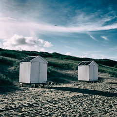 Autumn beach 1 (PascallacsaP) Tags: autumn sea fall beach water grass sand october dunes tracks footprints zeeland beachhouse marram zeeuwsvlaanderen cadzandbad zeelandicflanders