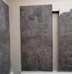 Stone panel with relief sculpture (heffelumpen9) Tags: sculpture relief britishmuseum nimrud assyrianart