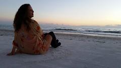 Victoria (Michel Curi) Tags: sunset sky people orange black fall beach gulfofmexico nature clouds portraits catchycolors model sand women waves gente retratos orangeandblack sunsetsunday visitflorida saturdaysmiles