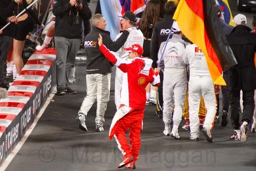Sebastian Vettel waves to the crowd at The Race of Champions, Olympic Stadium, London, November 2015