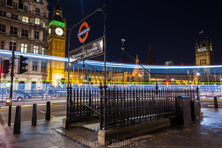 Westminster Tube Exit - London Houses of Parliament