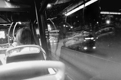 Bus View (bakersam100) Tags: street blackandwhite white black reflection bus london robert film monochrome night canon frank happy photography shoot mood sad floor emotion top style atmosphere f1 scan line negative analogue shape 3200 ilford tone indoo